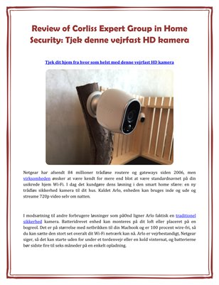 Review of Corliss Expert Group in Home Security: Tjek denne vejrfast HD kamera