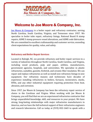 Welcome to Joe Moore & Company, Inc.