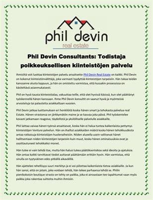 Phil Devin Consultants: Todistaja poikkeuksellisen kiinteistöjen palvelu