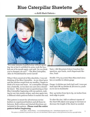 Blue Caterpillar Shawlette