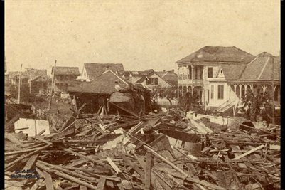 1901 Looking West on North 1-2 Street from 19th St., Galveston, Texas