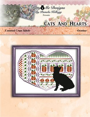 Cats And Hearts October Cross Stitch Pattern