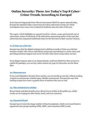 Online Security: These Are Today's Top 8 Cyber-Crime Trends According to Europol
