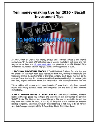 Ten money-making tips for 2016 - Bacall Investment Tips