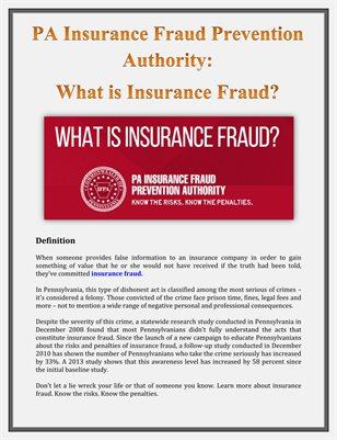 PA Insurance Fraud Prevention Authority: What is Insurance Fraud?