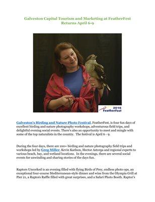 Galveston Capital Tourism and Marketing at FeatherFest Returns April 6-9