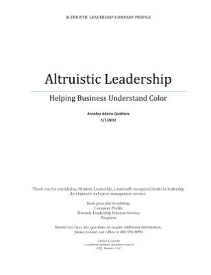 Altruistic Leadership Company Profile