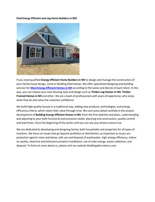 Energy Efficient Housing NH