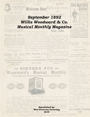 September 1892 Willis Woodward & Co. Musical Monthly Magazine