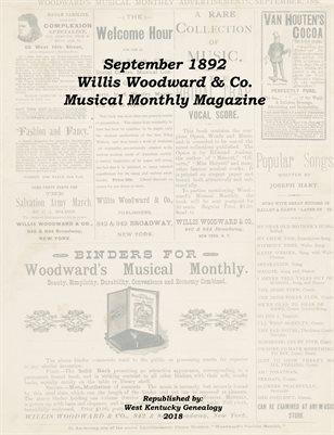 September 1892 Willis Woodward & Co. Musical Monthly Magazine