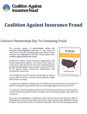 Coalition Against Insurance Fraud: Cohesive Partnerships Key To Combating Fraud