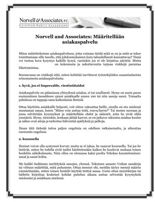 Norvell and Associates: Maaritellan asiakaspalvelu