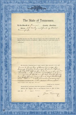 No.792 Cannon County, Tennessee, In the Supreme Court, S.H. Newby vs. Jas A. Jones, Nov. 1902
