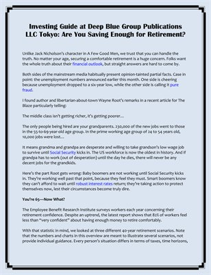 Investing Guide at Deep Blue Group Publications LLC Tokyo: Are You Saving Enough for Retirement?