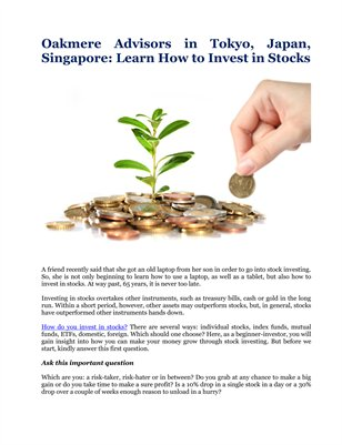 Oakmere Advisors in Tokyo, Japan, Singapore: Learn How to Invest in Stocks