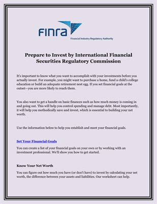 Prepare to Invest by International Financial Securities Regulatory Commission