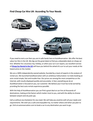 Find Cheap Car Hire UK- According To Your Needs