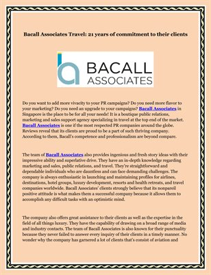 Bacall Associates Travel: 21 years of commitment to their clients