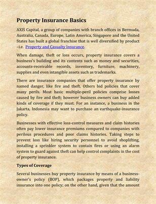 Property Insurance Basics