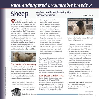 Deborah Robson's Facts for Fiber Geeks: 2018 Rare Sheep and Wools