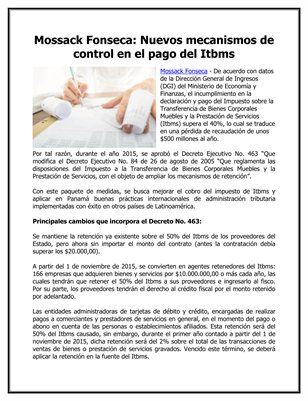 Mossack Fonseca: Nuevos mecanismos de control en el pago del Itbms