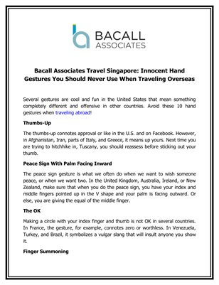 Bacall Associates Travel Singapore: Innocent Hand Gestures You Should Never Use When Traveling Overseas