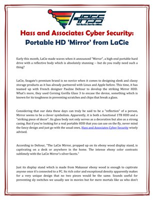 Hass and Associates Cyber Security: Portable HD 'Mirror' from LaCie