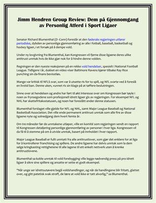 Jimm Hendren Group Review: Dem på Gjennomgang av Personlig Atferd i Sport Ligaer