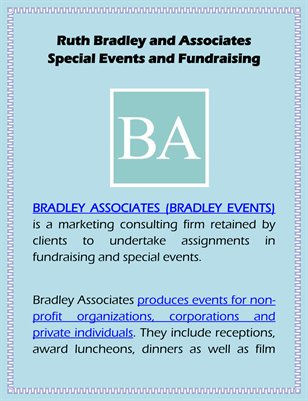 Ruth Bradley and Associates Special Events and Fundraising