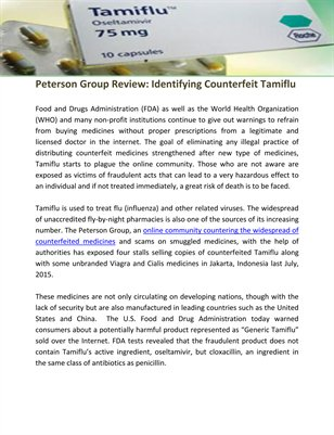 Peterson Group Review: Identifying Counterfeit Tamiflu