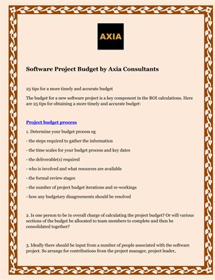 Software Project Budget by Axia Consultants