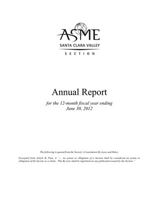 2011-2012 ASME Santa Clara Valley Section Annual Report
