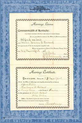 1908 Marriage Records, Alfred Lester Willis to Emma Blanche Ballard, Hickman County, Kentucky