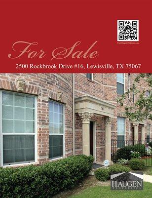 Haugen Properties -2500 Rockbrook, Drive #16 Lewisville, TX 75067