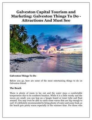 Galveston Capital Tourism and Marketing: Galveston Things To Do - Attractions And Must See
