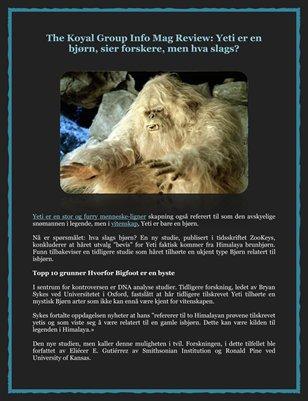 The Koyal Group Info Mag Review: Yeti er en bjorn, sier forskere, men hva slags?