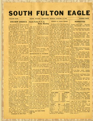 Jan. 14th, 1946 South Fulton Eagle Newspaper, South Fulton, Tennessee