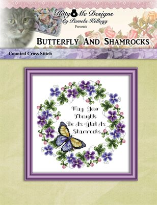 Butterfly And Shamrocks Cross Stitch Pattern