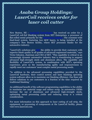 Asaba Group Holdings: LaserCoil receives order for laser coil cutter