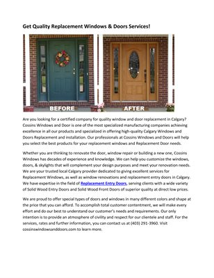 Get Quality Replacement Windows & Doors Services!