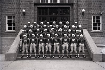 1948 Mayfield Football Team wearing helmets, Mayfield High school, Graves County, Kentucky