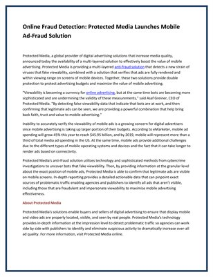 Online Fraud Detection: Protected Media Launches Mobile Ad-Fraud Solution