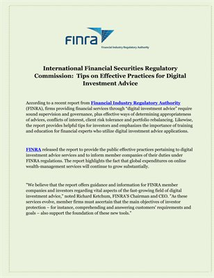 International Financial Securities Regulatory Commission:  Tips on Effective Practices for Digital Investment Advice