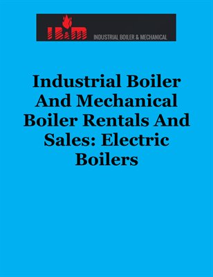 Industrial Boiler And Mechanical Boiler Rentals And Sales: Electric Boilers