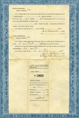 1920 Deed, Amos Holmes to Roscoe Holmes, Marshall County, Kentucky