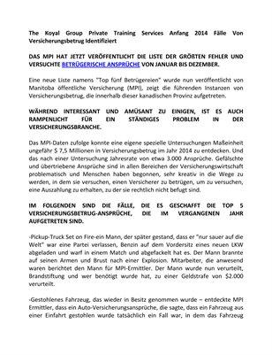 The Koyal Group Private Training Services Anfang 2014 Fälle Von Versicherungsbetrug Identifiziert
