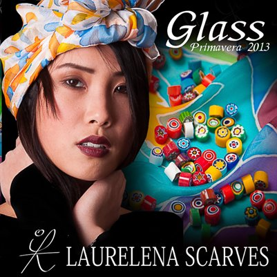 "Catalog Hand Painted Scarves by Laurelena ""Collection Glass"""
