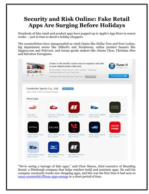 Security and Risk Online: Fake Retail Apps Are Surging Before Holidays