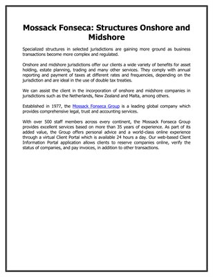 Mossack Fonseca: Structures Onshore and Midshore