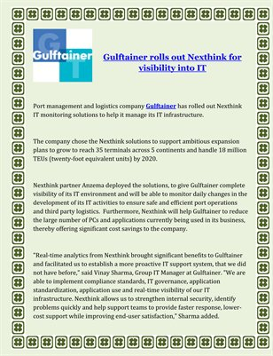 Gulftainer rolls out Nexthink for visibility into IT